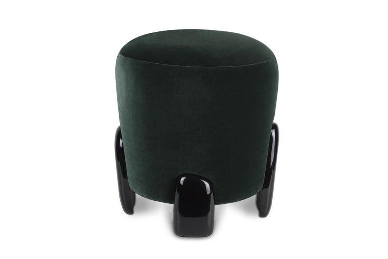 Portuguese Brabbu Noaki Stool in Emerald Velvet with Black Lacquer Base For Sale