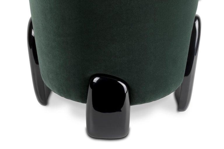 Contemporary Brabbu Noaki Stool in Emerald Velvet with Black Lacquer Base For Sale