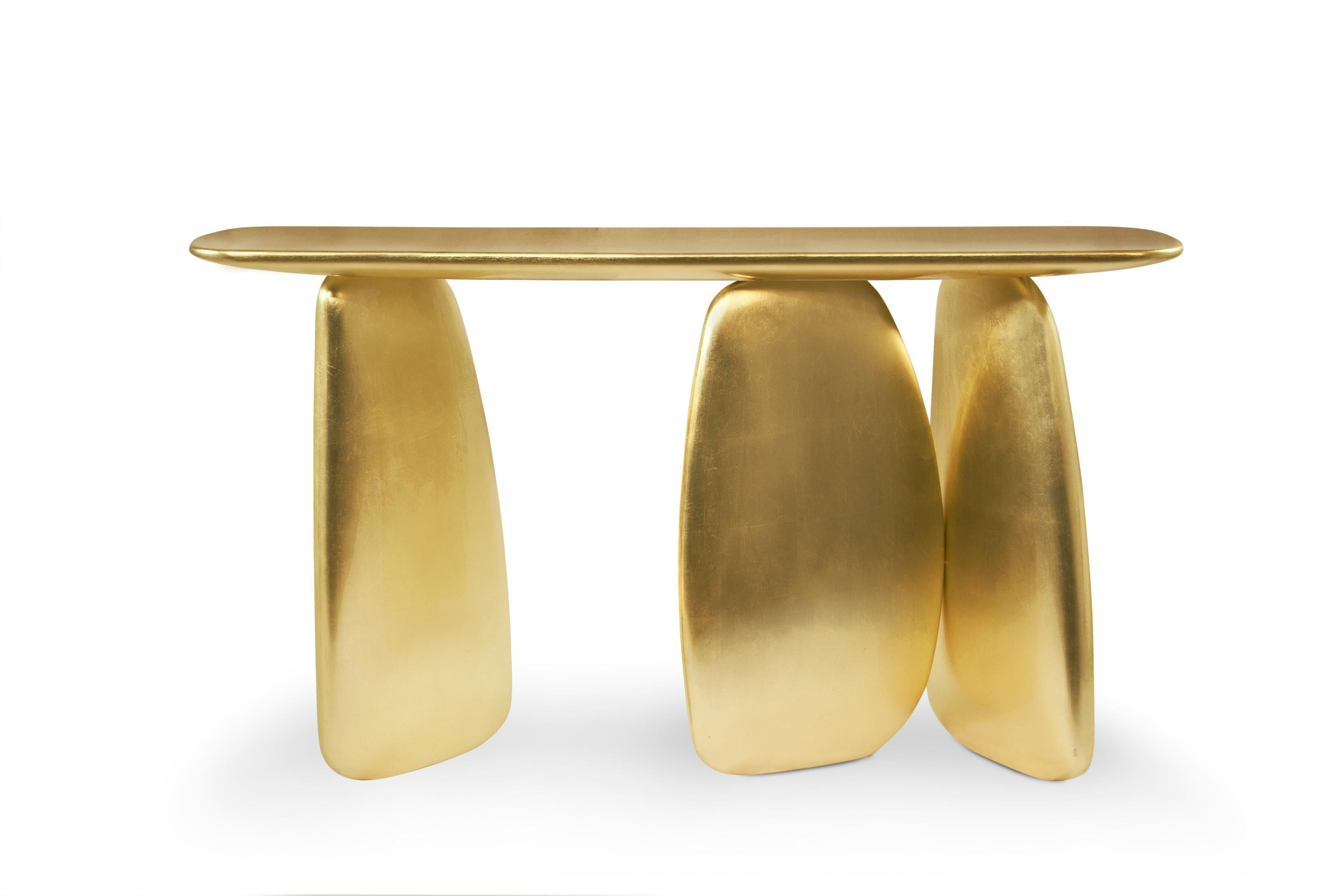 ... Console Table In Gold Leaf For Sale. Dolmens Are Ancient Stone  Monuments From The Neolithic Period. These Unique Structures Were The  Inspiration