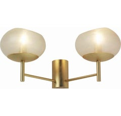 Donghia Renaldo Two-Arm Sconce, Murano Glass in Champagne & Satin Gold