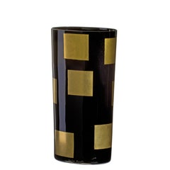 Large Mosaico Vase in Black and Gold by Carlo Moretti