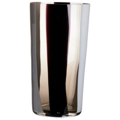 Large Ovale Vase in Grey, White and Black by Carlo Moretti