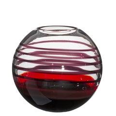 Small Sfera Vase in Black and Red by Carlo Moretti
