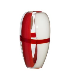 Medium Ogiva Vase in Red and White by Carlo Moretti
