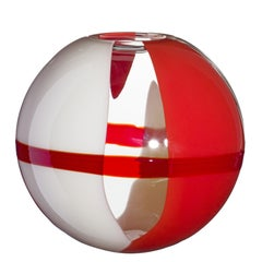 Large Sfera Vase in Orange, Red, and Ivory by Carlo Moretti