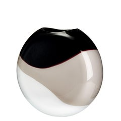 Small Eclissi Vase in White, Grey, and Black by Carlo Moretti
