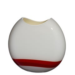 Small Eclissi Vase in Red, Ivory, and Grey by Carlo Moretti