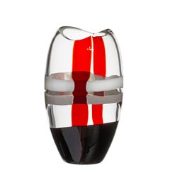 Small Ellisse Vase in Ivory, Red, and Black Streaks by Carlo Moretti