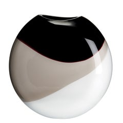 Large Eclissi Vase in White, Grey and Black by Carlo Moretti