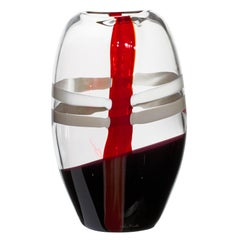 Large Ellisse Vase in Ivory, Red and Black Streaks by Carlo Moretti