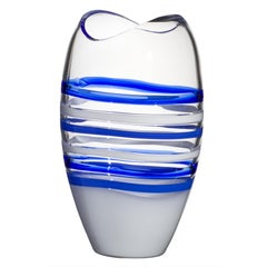Large Ellisse Vase in Blue and White by Carlo Moretti