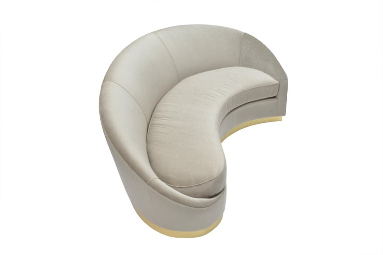 American Donghia Curve Sofa in Gray Ash Upholstery For Sale