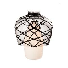 Venini Celesti Table Lamp in Milk White with Black Detail by Atelier Oï