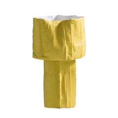Contemporary Ceramic Ninfea Footed Bowl Corteccia Texture Yellow