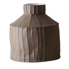 Contemporary Ceramic Fide Corteccia Texture Brown Vase
