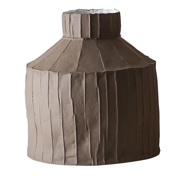 Contemporary Ceramic Fide Corteccia Texture Brown Vase For Sale