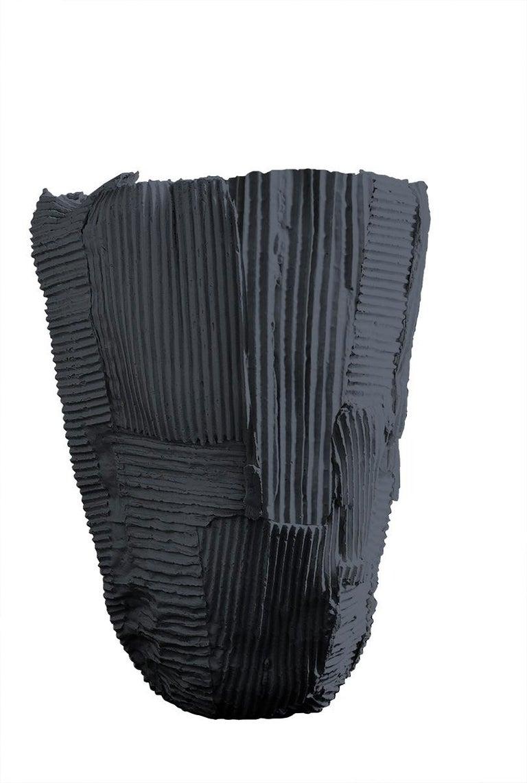 Modern Contemporary Ceramic Tall Vase Cartocci Texture Black For Sale
