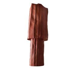 Contemporary Ceramic Tall Ninfea Vase Corteccia Texture Red