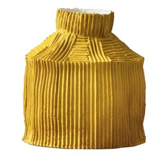 Contemporary Ceramic Cartoccio Texture Fide Yellow Vase