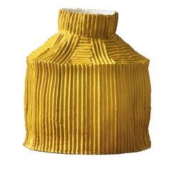 Contemporary Ceramic Cartoccio Texture Fide Yellow Vase