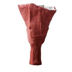 Contemporary Ceramic Tulipano Corteccia Texture Coral Vase