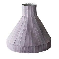 Contemporary Ceramic Vulcano Corteccia Texture Lilac Low Vase