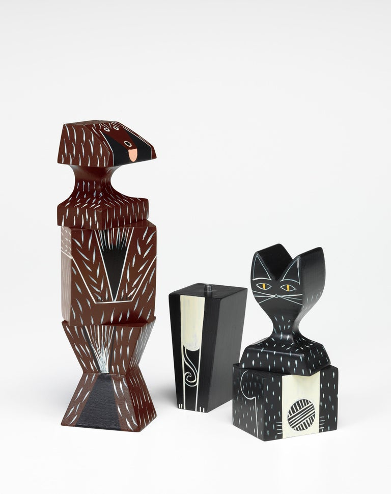 Swiss Vitra Wooden Doll Small Cat by Alexander Girard For Sale