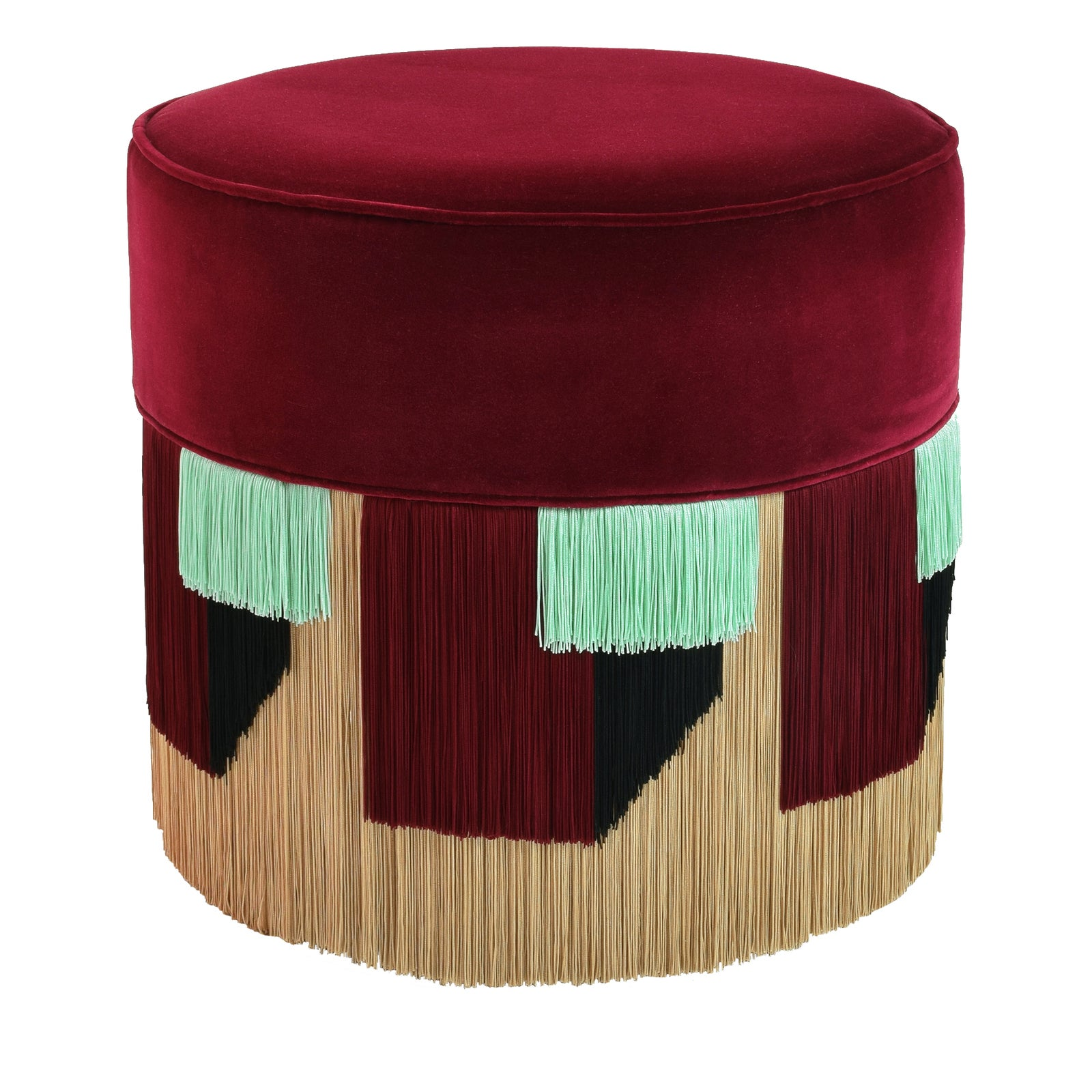 Couture Bordeaux Pouf with Geometric Fringe by Lorenza Bozzoli Design