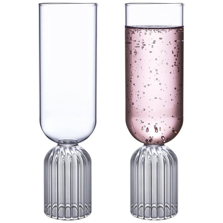 EU Clients Pair of Czech Contemporary May Champagne Flute Glasses, in Stock