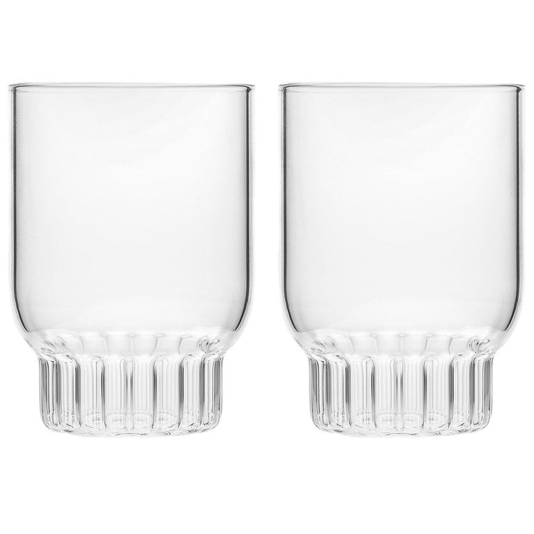 EU Clients Set of Two Czech Contemporary Rasori Medium Water Glasses, in Stock