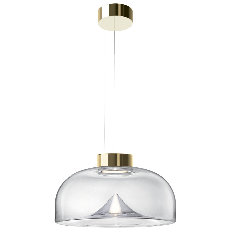 Leucos Aella S LED Pendant Light in Transparent and Gold by Toso & Massari
