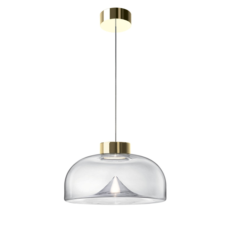 Leucos Aella Mini S 30 LED Pendant Light in Transparent & Gold by Toso & Massari