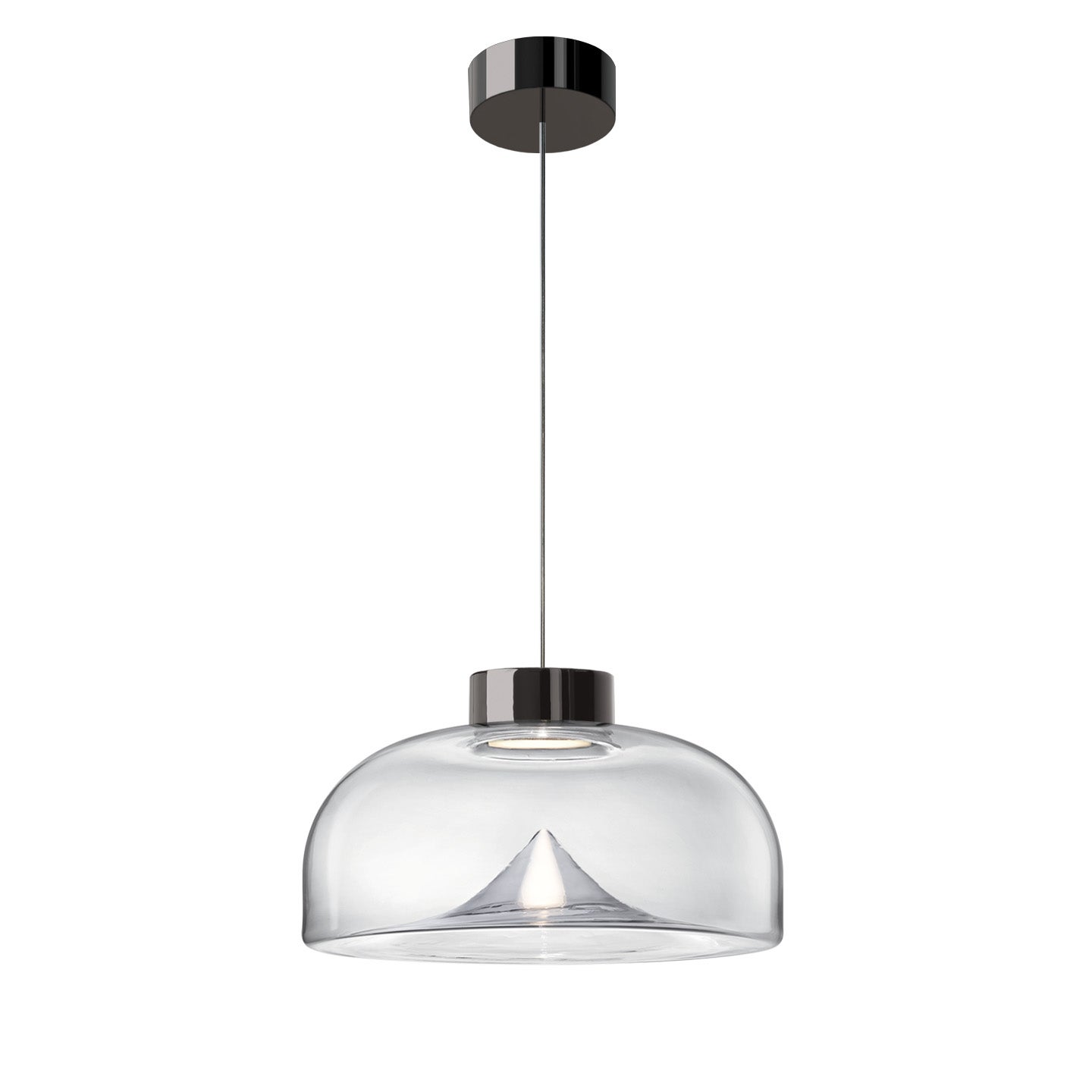 Leucos Aella Mini S 30 LED Pendant Light in Clear and Gunmetal by Toso & Massari