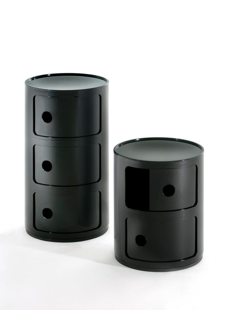 Italian Kartell Componibili 3-Tier Drawer in Black by Anna Castelli Ferrieri For Sale