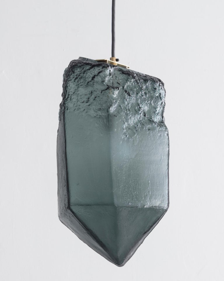 Crystal illuminated sculptural pendant in hand blown dark gray glass. Designed and made by Jeff Zimmerman, USA, 2017.