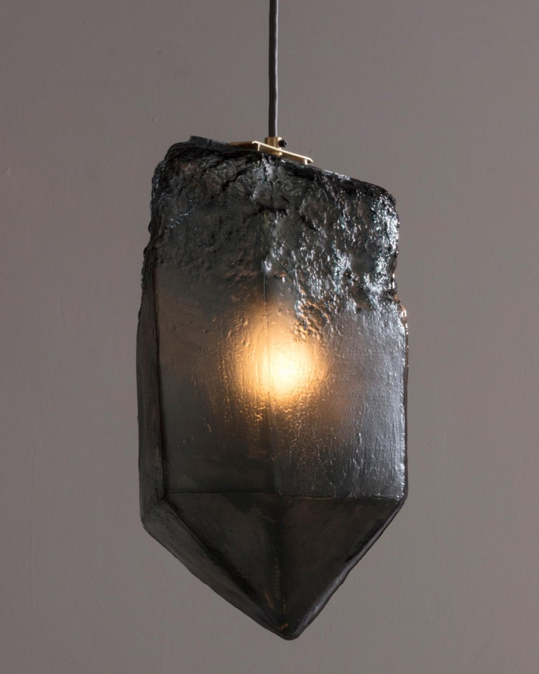 Modern Crystal Pendant Light in Gray Hand Blown Glass by Jeff Zimmerman, 2017 For Sale