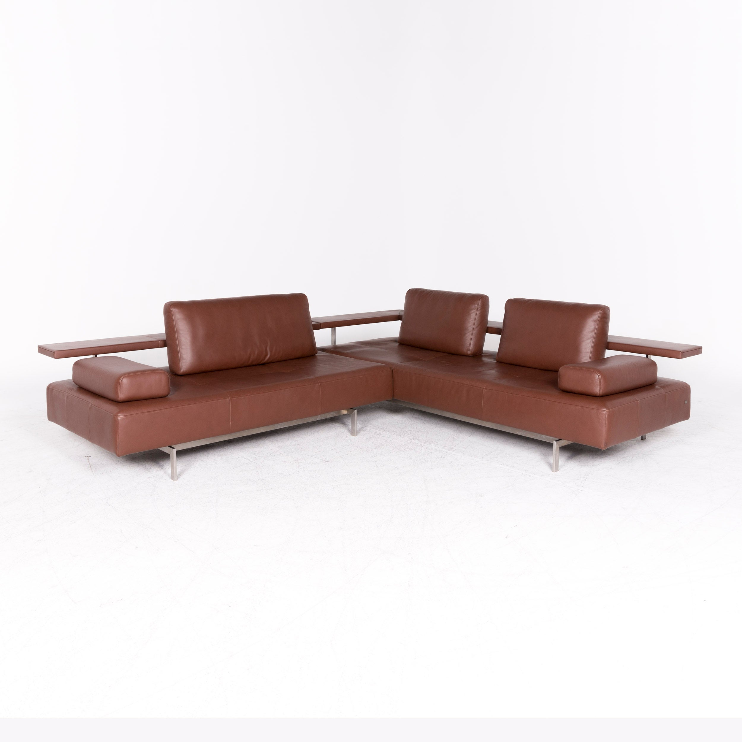 Rolf Benz Dono Designer Leather Corner Sofa Brown Genuine Leather Sofa Couch
