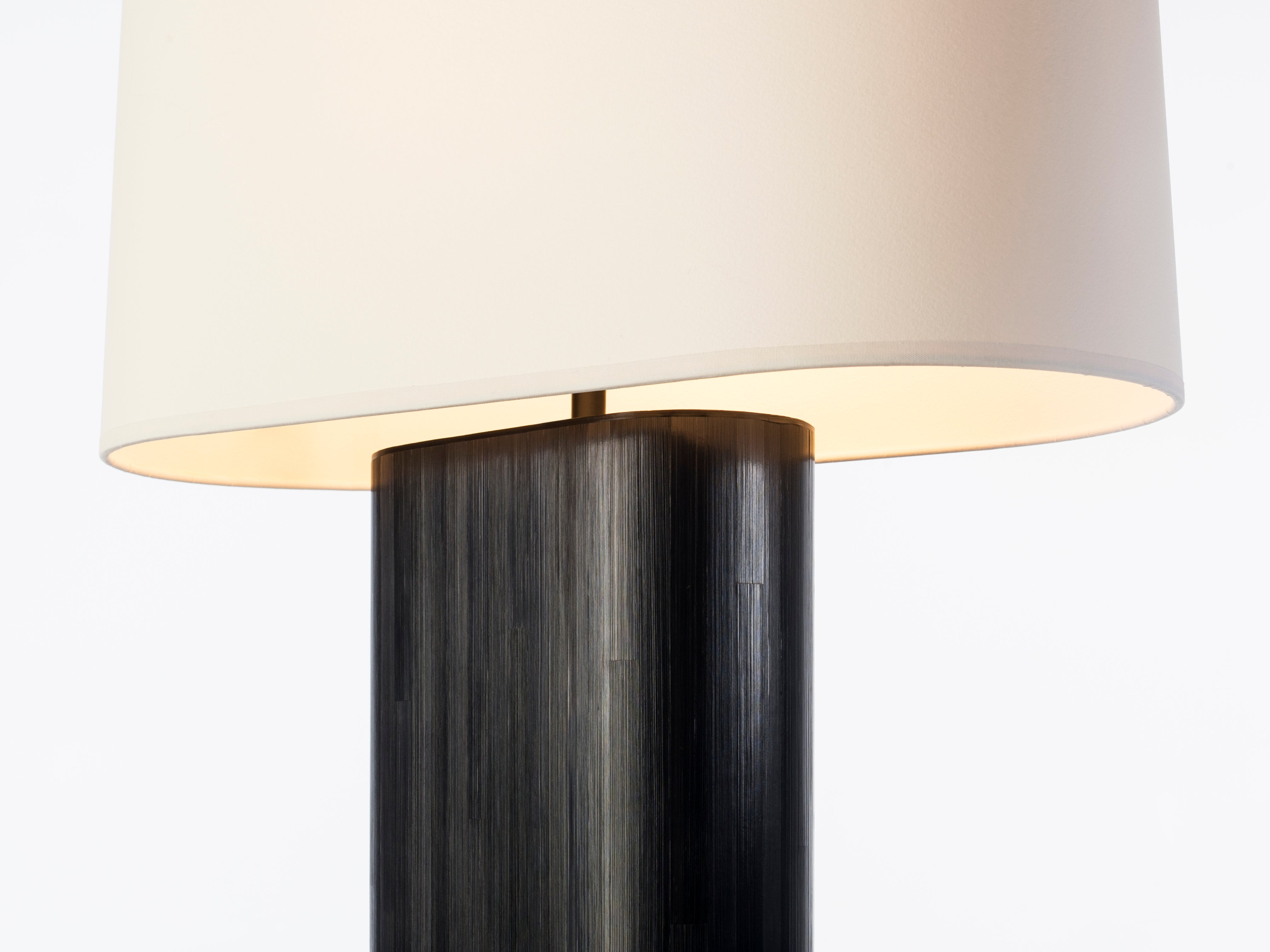 Holly Hunt Marlowe Table Lamp With Ebony Straw Marquetry With Aquarelle Shade For Sale At 1stdibs