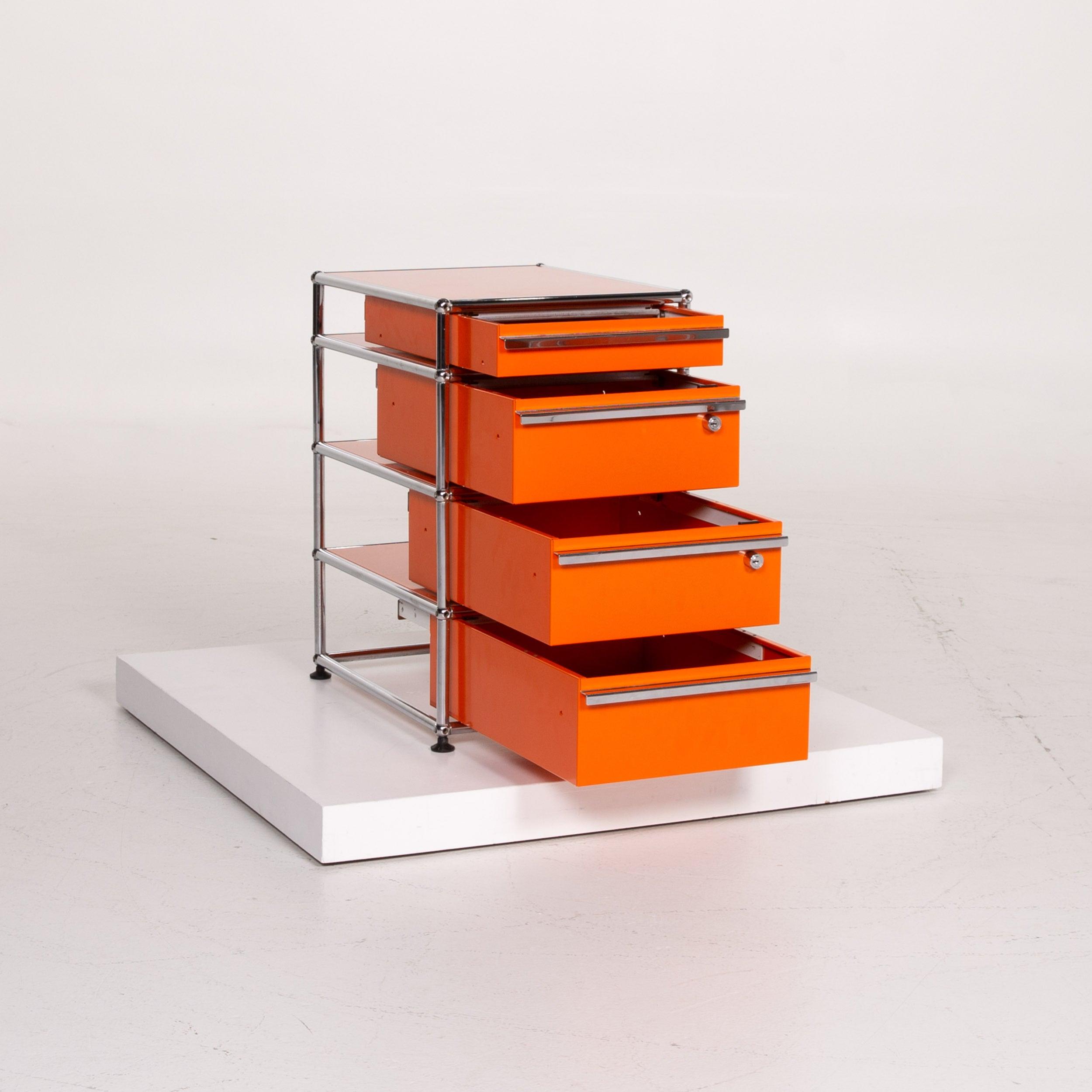Usm Haller Metal Sideboard Orange Container Chrome Office For Sale At 1stdibs