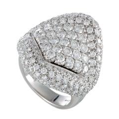 Damiani Full Diamond Pave White Gold Large Cocktail Ring