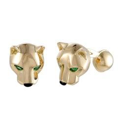 Cartier Panthere 18 Karat Yellow Gold Onyx and Tsavorite Cufflinks