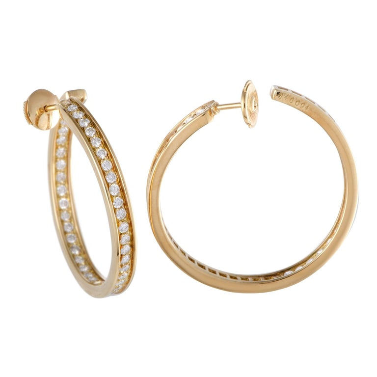 Cartier 18 Karat Yellow Gold Diamond Inside Out Large Hoop Earrings In Excellent Condition For Sale In Southhampton, PA