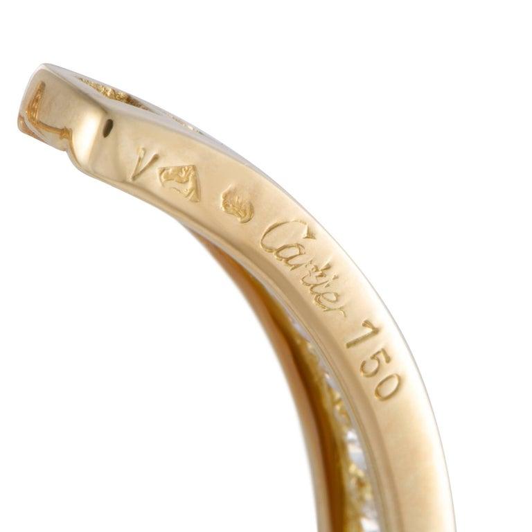 Women's Cartier 18 Karat Yellow Gold Diamond Inside Out Large Hoop Earrings For Sale