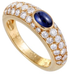 Cartier 18 Karat Yellow Gold Diamond Pave Sapphire Cabochon Band Ring