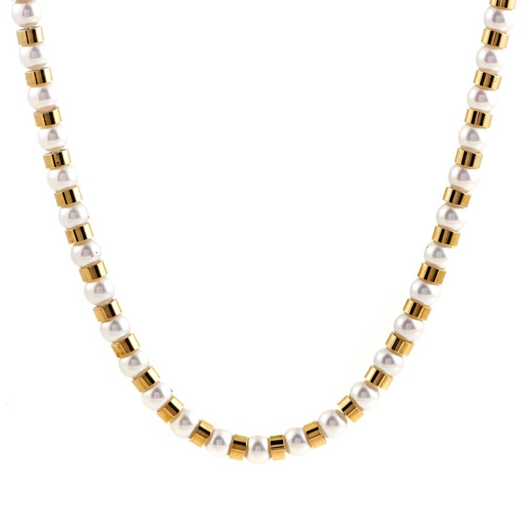 Chanel Women's Baroque 18 Karat Yellow Gold Pearl Beads Long Strand Necklace
