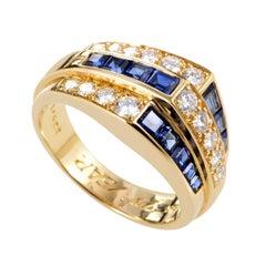 Oscar Heyman Women's 18 Karat Yellow Gold Diamond and Sapphire Ring AK1B4235