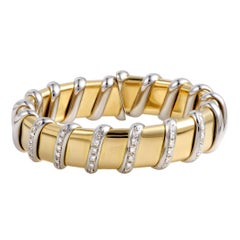 Roberto Coin Nabucco 18 Karat Yellow and White Gold Diamond Bangle Bracelet