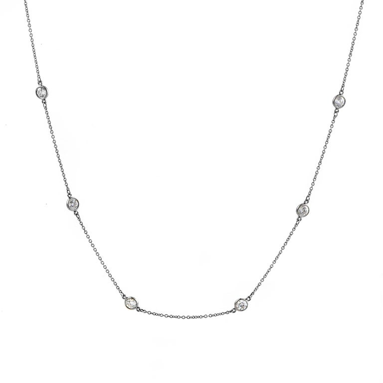Tiffany & Co. Elsa Peretti Diamonds by the Yard Platinum 20 Diamond Necklace