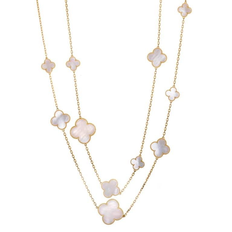 Van Cleef & Arpels Magic Alhambra 18 Karat Gold White Mother-of-Pearl 16 Motif