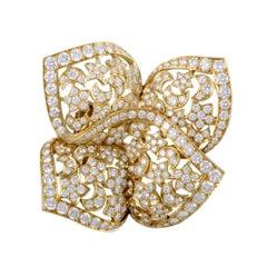 Van Cleef & Arpels Sirius 18 Karat Yellow Gold Diamond Pave Brooch